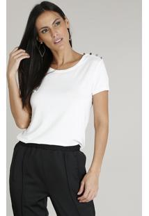 Blusa Feminina Com Botões Manga Curta Decote Redondo Off White