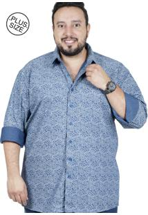Camisa Plus Size Bigshirts Manga Longa Cash Azul