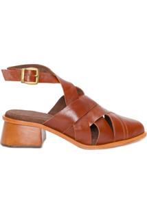 Sapato Feminino Mule Trança - Marrom