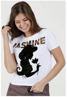 Blusa Feminina Estampa Jasmine Manga Curta Disney