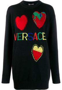 Versace Suéter De Tricô Jacquard Com Logo - Preto