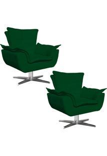 Kit 02 Poltronas Decorativas Gran Opala Base Estrela Em Aço Cromado Suede Verde - D'Rossi