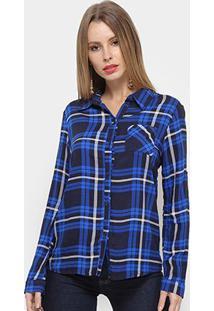 Camisa Adooro Manga Longa Xadrez Feminina - Feminino-Azul