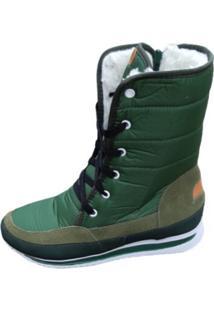 Bota Forrada Andarilha Neve E Frio Cadarço Verde Militar