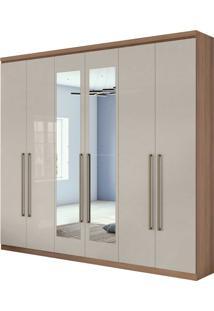 Guarda Roupa Casal Com Espelho 6 Portas 4 Gavetas Alonzo New Bege - Tricae