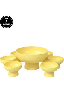 Kit 7 Pçs Saladeira Amarelo Coza