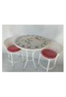 Conjunto Mosaico Florido, Mesa Com Duas Cadeiras 70 Cm
