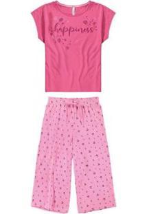 Pijama Malwee Liberta Pantacourt Happiness Feminino - Feminino-Rosa Claro