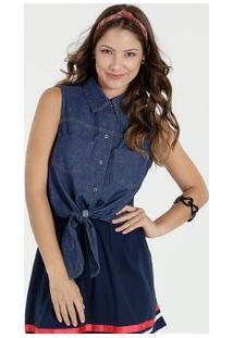 Camisa Feminina Jeans Amarração Marisa