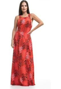 Vestido Clara Arruda Longo Costa Detalhe Feminino - Feminino-Vermelho