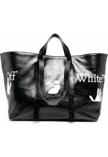 Off-White Bolsa Tote Commercial Com Estampa De Logo - Preto