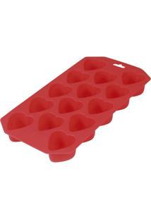 Forma Silicone Para Gelo Ice Coração - Unissex-Vermelho