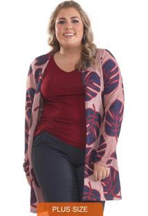 Cardigan Plus Size Tricô Estampado Rosê