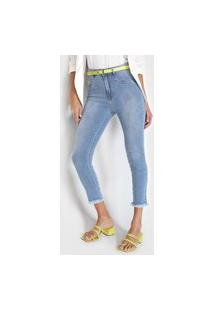 Calça Cropped Jeans Lança Perfume Skinny Estonada Azul