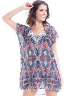 Blusa 101 Resort Wear Tunica Decote V Crepe Estampa Tribal - Azul/Multicolorido - Feminino - Poliã©Ster - Dafiti