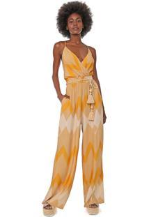 Macacão Dress To Pantalona Geométrica Amarelo/Off-White
