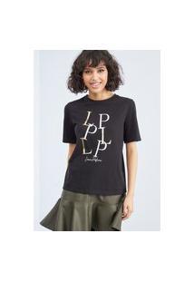 T-Shirt Decote Redondo Lança Perfume Camiseta Preto
