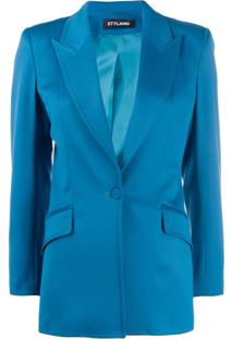 Styland Blazer Com Abotoamento Simples - Azul