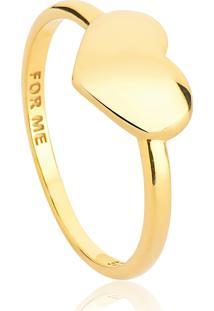 Anel Prata 925 Coração Polido No Aro Com Banho Dourado-For Me