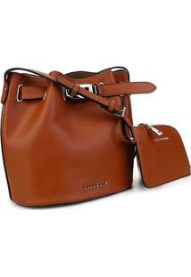 Bolsa Ellus Bucket Bag Military Feminina - Feminino-Caramelo