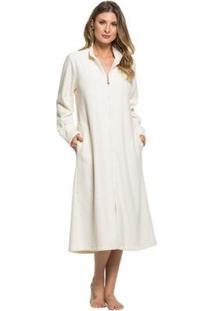 Robe Plush Buckle Zíper Feminino - Feminino-Off White