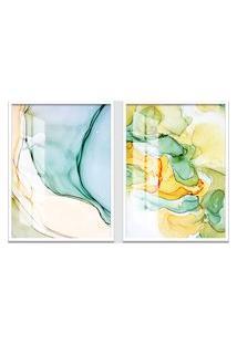 Quadro 65X90Cm Abstrato Âmbar Amarelo E Verde Moldura Branca Sem Vidro Decorativo Interiores