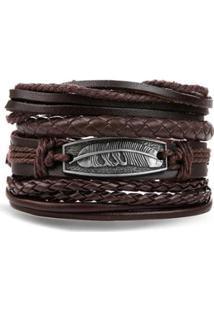 Bracelete Artestore 4 Em 1 Pulseira Artestore Em Couro Com Metail - Unissex-Marrom