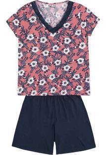 Pijama Feminino Em Malha De Algodao Com Detalhe Em Renda