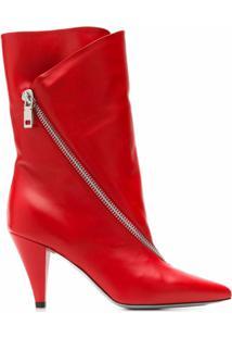 Givenchy Bota Com Salto Médio E Zíper - Vermelho