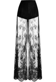 Unravel Project Calça Pantalona Translúcida Com Renda - Preto