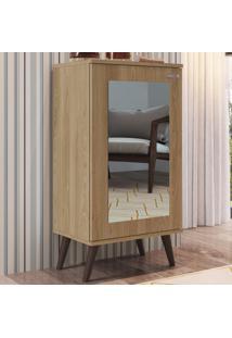 Sapateira 1 Porta Com Espelho 3 Prateleiras Sp060 Oak - Completa Móveis