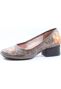 Sapato J. Gean Retrô Vintage Salto Grosso Cinza