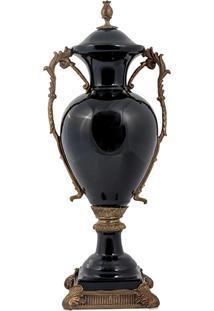 Vaso De Porcelana E Bronze - Linha Black