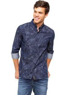 Camisa Jeans Hering Folhagem Azul