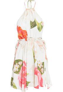 Vestido Curto Paraíso Floral - Off White