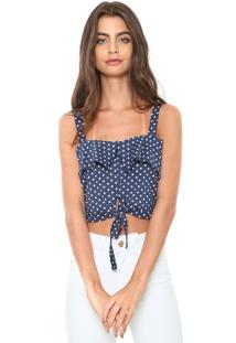 Blusa Cropped Ciganinha Fiveblu Amarração Azul/Branca