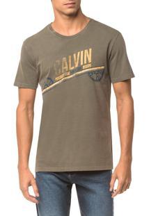 Camiseta Ckj Mc Est. Calvin Engrenagem - Oliva - Pp