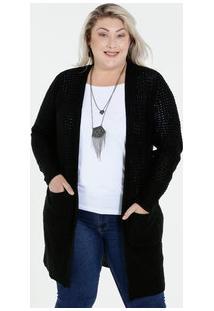 Cardigan Feminino Bolsos Plus Size Marisa