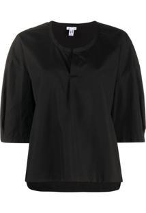 Comme Des Garçons Comme Des Garçons Oversized Half-Sleeve Blouse - Preto