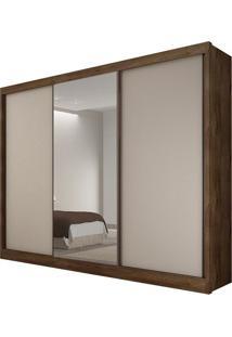 Guarda Roupa Diamond 3 Portas Com Espelho Canela/Off White