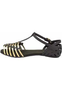 Sandália Sedução 619 Feminina - Feminino-Preto+Dourado