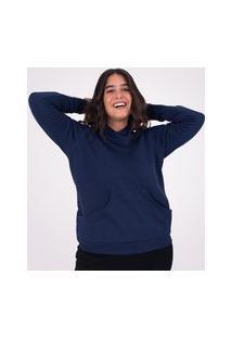 Blusa Moletom Tradicional Feminina Com Capuz E Bolso Super Azul