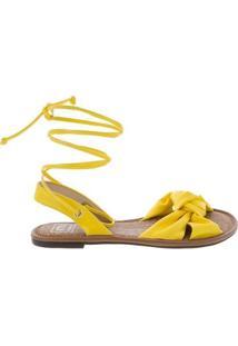 Sandália Rasteira Moleca Amarração Amarelo 5445105 - 42 - Feminino