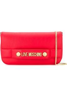 Love Moschino Clutch Com Logo - Vermelho
