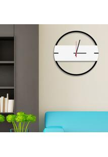 Relógio De Parede Decorativo Premium Slim Preto Ônix Com Detalhe Branco Em Relevo Médio