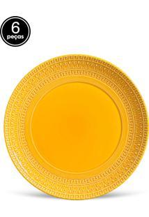 Conjunto 6Pçs Pratos Rasos Porto Brasil Greek Amarelo