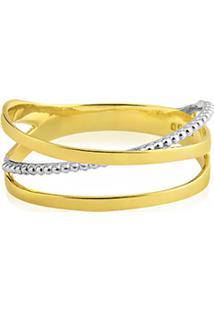 Anel Bolinhas Ouro Amarelo Ouro Branco