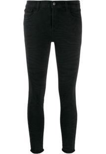 J Brand Cropped Skinny Jeans - Preto