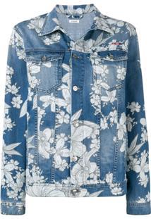 P.A.R.O.S.H. Jaqueta Jeans Com Estampa Floral - Azul