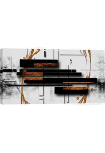 Quadro Abstrato Preto E Branco 55X100Cm